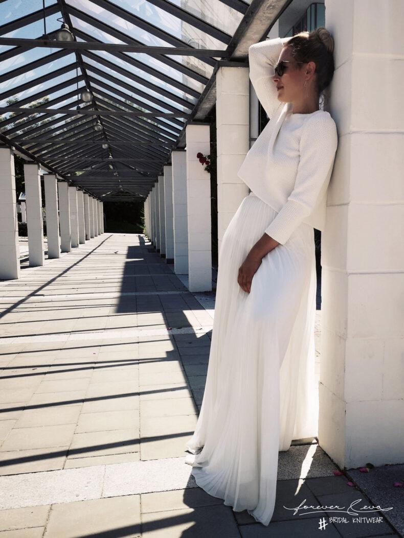 #be joy Braut-Strickjacke in ivory mit Schleife