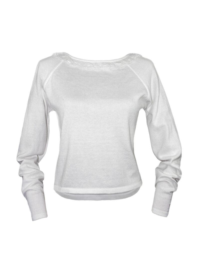 #be cute V-Ausschnitt-Pullover und Spitze