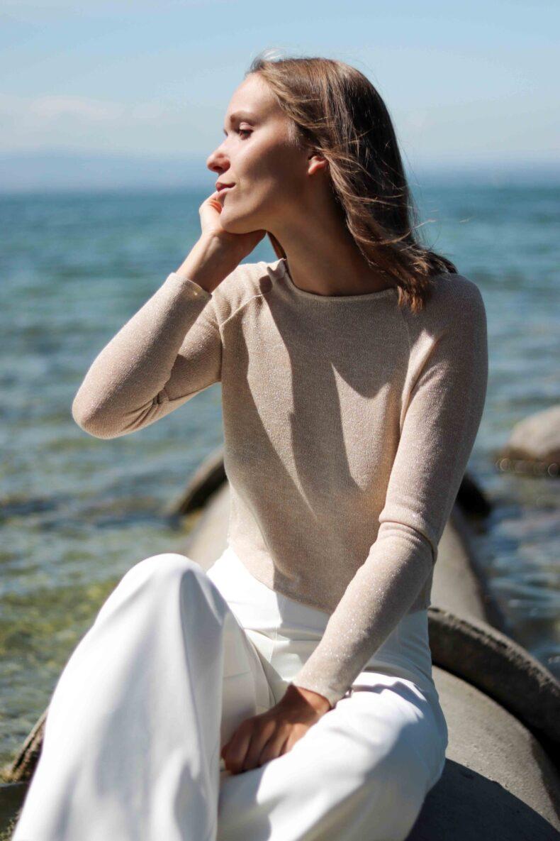 #be glamorous Pullover mit V-Ausschnitt gold