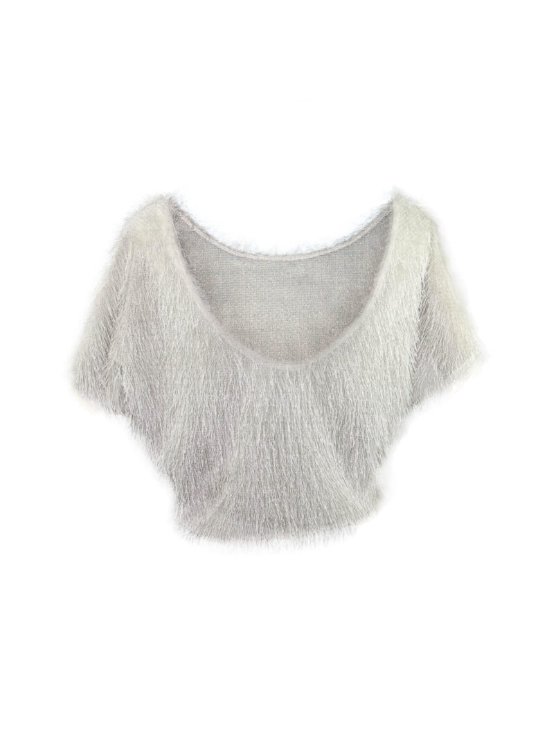 #be sophisticated Kurzarm Pullover in Felloptik