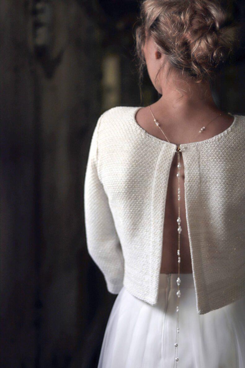 #be sparkling Braut-Strickjacke in ivory/gold