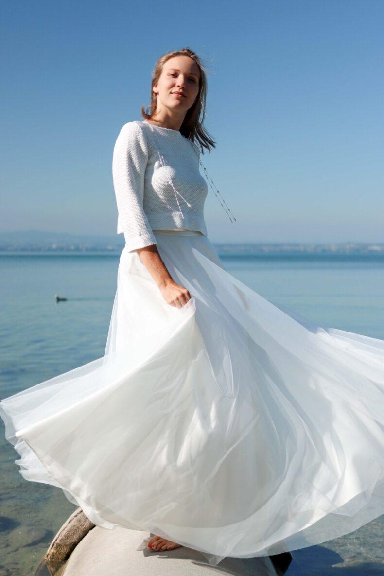 #be sparkling Braut-Strickjacke in ivory/silber